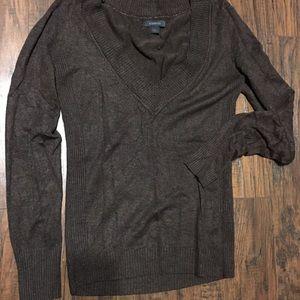 Express deep V long sleeve sweater
